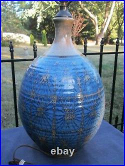 MCM BRUTALIST Stoneware Pottery Lamp Signed WISHON-HARREL Eames Modern Danish