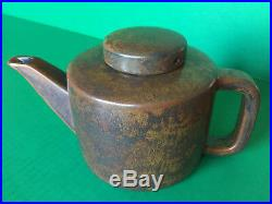 MCM Per Lutken L Hjorth Danish Modern Teapot Stoneware Brown Black SIGNED No L5