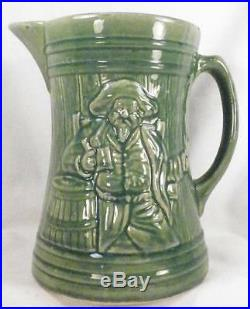 McCoy Buccaneer Stoneware Pitcher Jug Tankard Green Vintage Art Pottery NICE