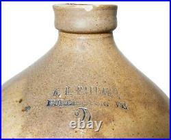 Mid-19th C American Antique A. K. Ballard 2 Gal Stoneware Cer Jug Burlington, Vt