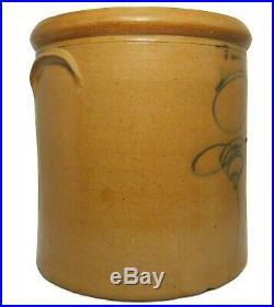 Mid-19th C Antique Bumble Bee Sting Blue Slip Dec Salt Glazed #3 Stoneware Crock