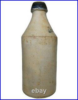 Mid-19th C J P Plummer Boston Ma 1853 Antique Stmpd Stoneware Bottle, Blue Spout