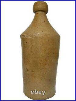 Mid-19th C Wm Fowler American Antique Salt-glazed Stoneware Root Beer Cer Bottle