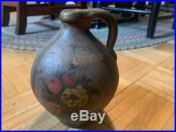 Mid 19th Century Stoneware Ovoid W Folk Art Decorative Paint Of Floral Bouquet