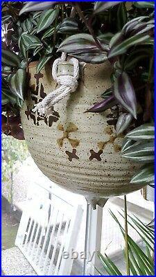 Mid Century Modern Studio Stoneware Pottery Hanging Planter -Rare Exl Mint