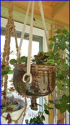 Mid Century Modern Vtg Stoneware Glazed Pottery Planter Hanging