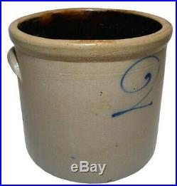 Mid-late 19th C American Antique 2 Gal Primitive Salt Glazed #2 Stoneware Crock
