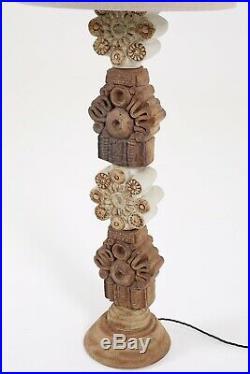 Midcentury Bernard Rooke Studio Pottery Totem Floor Lamp Ceramic Stoneware 1960s