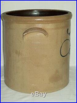 Modified 5 Gallon Bee Sting Stoneware Crock Early Antique Salt Glaze Pottery