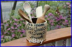 NEWARK NJ JOE MAMM SCRIPT JUG CROCK SLAT GLAZE ooak COURT ST STONEWARE pottery