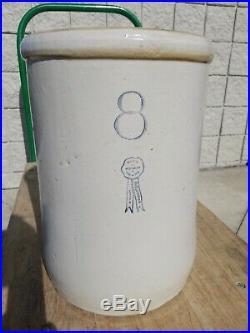 Old 8 Gallon Buckeye pottery Blue Ribbon Vintage Stoneware Crock Macomb IL c pic