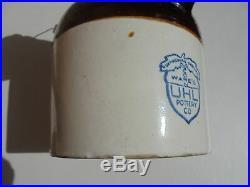 Old Antique Uhl Pottery Stoneware Bale Hdl Moonshine Harvest Jug Brown White