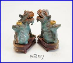 Pair of Chinese Shiwan Pottery Stoneware Foo Dogs / Lions, Turquoise glaze
