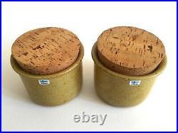 Pentik Finland Rare Vtg MID Century Modern Hiisi Stoneware Canister Jars 2pc Set
