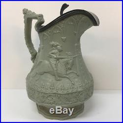 Pewter lidded jug ridgway antique victorian stoneware ewer c1840 jousting large