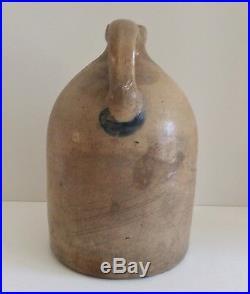 Primitive 1 Gallon Stoneware Jug with Large Cobalt Blue Tulip Design