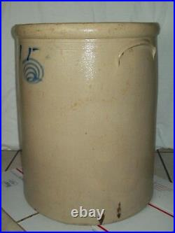 Primitive Antique #15 Bee Sting Stoneware Crock Salt Glazed Red Wing Pottery