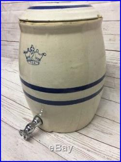 Primitive Antique 2 gallon Kings Crown Stoneware Water Dispenser Crock