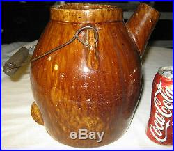 Primitive Country Antique Americana Bennington Stoneware Batter Pitcher Crock