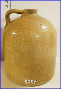 Primitive YELLOW Brown MUSTARD Color STONEWARE JUG 2 / 2.5 Gallon MEYER TEXAS