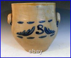 RARE 1830's Cobalt Decorated Ovoid Stoneware Crock Ingall's Pottery Taunton Ma