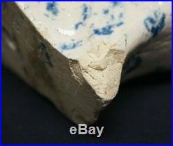 RARE Antique Lowell Stoneware Blue & White Dog Spaniel Michigan Art Pottery 6