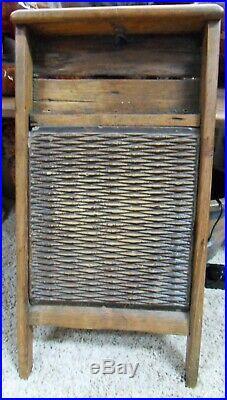 RARE Antique Primitive Brown Stoneware Earthenware Pottery Wash Board ca. 1800's