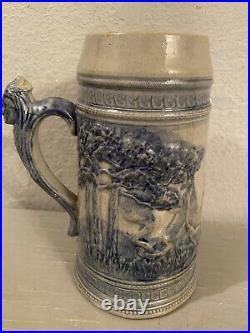 RARE Antique Stoneware Old Sleepy Eyes Tankard Stein Mug Weir Monmouth