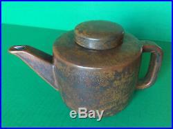 RARE MCM Per Lutken L Hjorth Danish Modern Teapot Stoneware Brown Black SIGNED