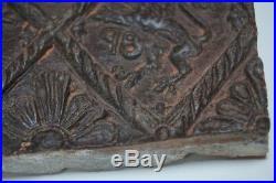 Rare 1598 Dutch Stoneware Pottery Hearth Tile Heraldic rampant Lions Castle
