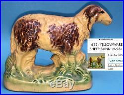 Rare Antique Americana Yellow Ware Pottery Sheep Lamb Coin Still Bank Folk Art