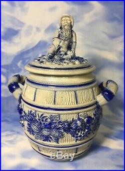 Rare Antique Westerwald Salt Glazed German Stoneware Punch Bowl Barrel Lid RGUC