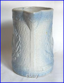 Rare Early Burley-Winter 8 Stoneware Pitcher, Powder Blue Swan Relief