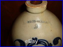 Rare Gales-Ville N. Y. 3 Gallon Urn & Flower Cobalt Blue Stoneware Pottery Jug, j
