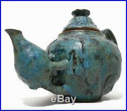 Rare Mid-20th C American Brutalist Vint Viscous Glazed Compound Stoneware Teapot