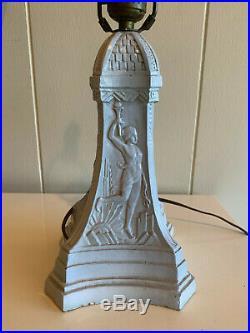 Rare Modernist Art Deco pottery stoneware lamp skyscraper olympics architecture
