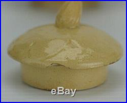 Rare Small Yellow Ware Antique Pottery Lily Pad Cattail Tea Pot Teapot