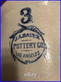Rare Vintage J A Bauer Pottery Co Los Angeles 3 Gallon Crock Stoneware pottery