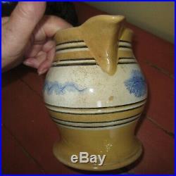 Rare antique mocha ware yellow ware 6 stoneware pottery pitcher 1800's