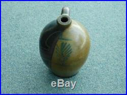 Rare painted Native American 2 gallon Primitive Bee String Feather Stoneware Jug