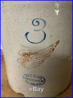 Red Wing Large Wing 3 Gallon Crock Jug Stoneware Pottery Vtg Antique Orgnl Cork