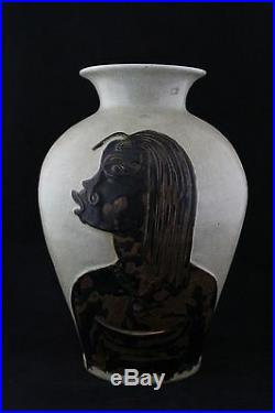 René Buthaud, large art deco celadon enamelled stoneware vase, two African woman