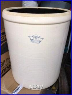 Robinson Ransbottom 8 Gallon Antique Blue Crown Stoneware Crock Pottery