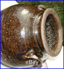 SIGNED Edgefield Catawba Pottery Southern Green Alkaline Glaze Stoneware 12 Jar