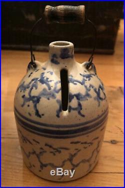 STUNNING STONEWARE BLUE SPONGEWARE Miniature Bank Nail Handle Very Rare