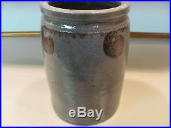 S. BELL AND SON c 1880 STRASBURG VA CROCK JAR, MANGANESE DECORATED STONEWARE