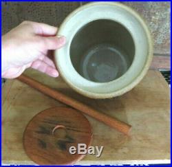 Salt Glaze Stoneware Pottery Walnut Hill Stoneware Butter Churn Blue Flowers #1