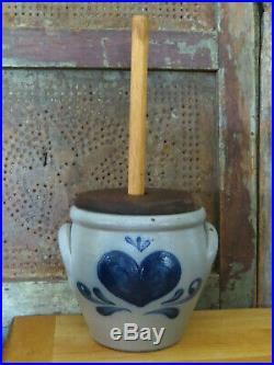 Salt Glaze Stoneware Rockdale Union Pottery Butter Churn Blue Heart & flowers