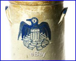 Stoneware Eagle Crock American Flag Cobalt Blue Primitive VTG Americana Folkart