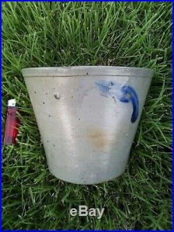 Stoneware gray blue Flower Pot Crock Pottery rare antique 7 8.5